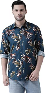 Zeal Shirts for Mens Full Sleeves Casual Regular fit Floral Printed Cotton Look Beach Wear Festive Turquoise