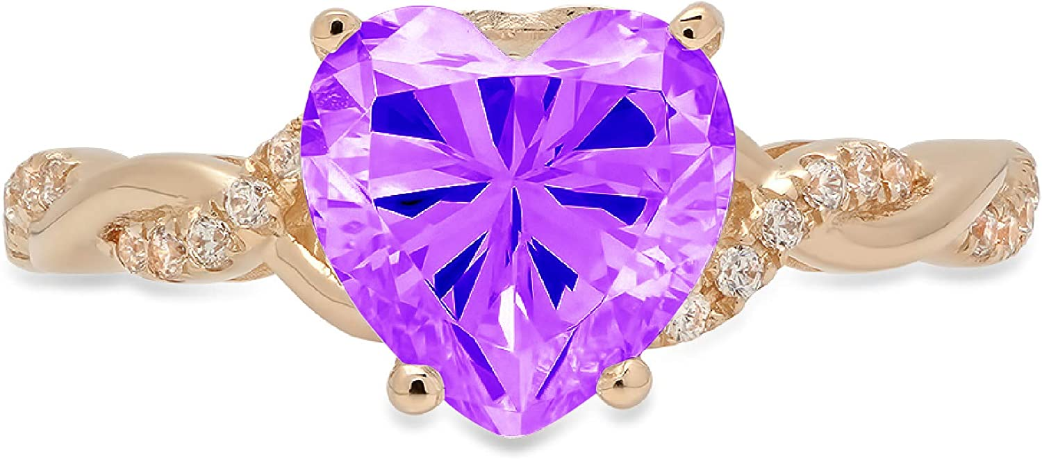 2.16ct Heart Cut Criss Cross Twisted Purp New arrival Solitaire Natural Max 53% OFF Halo