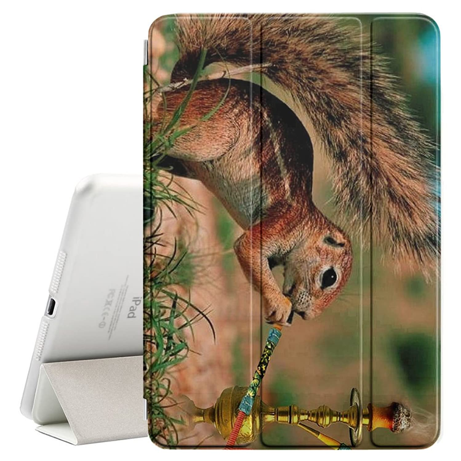 STPlus Squirrel Smoking Hookah Funny Smart Cover With Back Case + Auto Sleep/Wake Funtion + Stand for Apple iPad Air 1