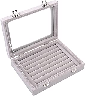 Ivosmart 7 Slots Velvet Glass Ring Jewellery Display Storage Box Tray Case Holder Earring Organizer Stand Grey