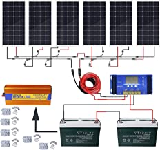 ECO-WORTHY 720W Solar Power System Off Grid: 6pcs 120W Mono Solar Panel + 60A Charge Controller + 200Ah 12V Sealed Lead-Acid Battery + 1500W Pure Sine Wave Inverter + Solar Cable + Z Mounting Brackets