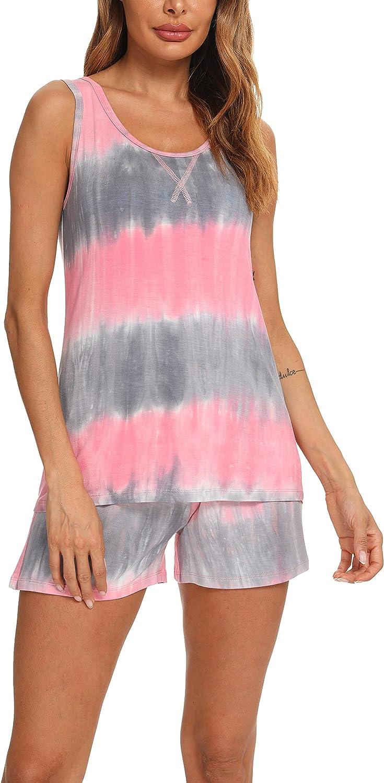 TIKTIK Women Bamboo Viscose Sleeveless Scoop Neck Neck Pajamas Short Set Pajamas Petite Plus Size S-4XL
