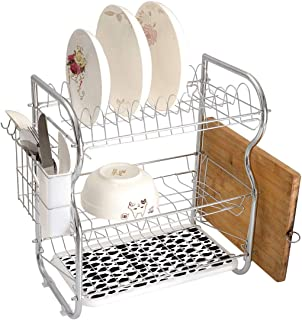 Stainless Steel 3-Tier Dish Drainer Rack Cow Print Kitchen Drying Drip Tray Cutlery Holder Cattle Skin Pattern with Scattered Spots Animal Hide Plain and Pasture Print,White Black,Storage Space Saver