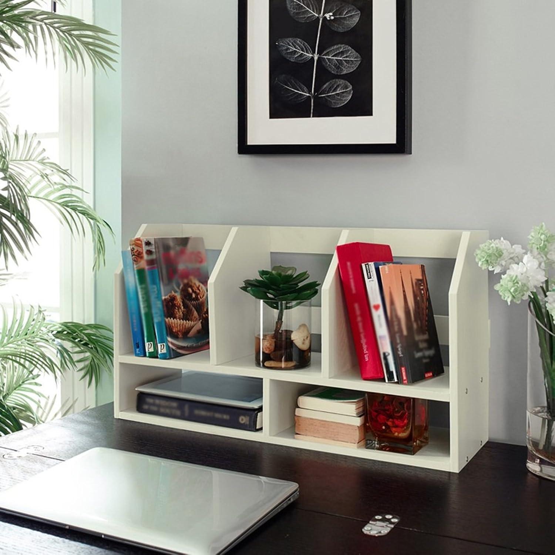 QIANGDA Bookshelf Dormitory Table Bookcase Commodity Shelf Office Supplies Storage Rack Commodity Shelf, 60 X 20 X 34cm, 2 colors Optional (color   White)