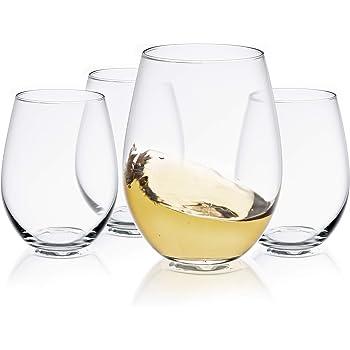 JoyJolt Spirits Stemless Wine Glasses for Red or White Wine (Set of 4)-19-Ounces
