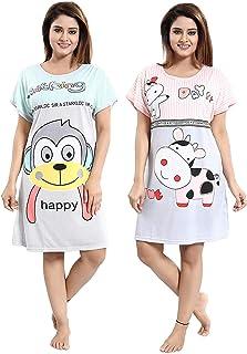 SSoShHub SoSh Girl's/Women's Hosiery Printed Short Above Knee Length Nigthy/Nightwear or Long Top (Assorted Print & Colours) Pack of 2 and Design