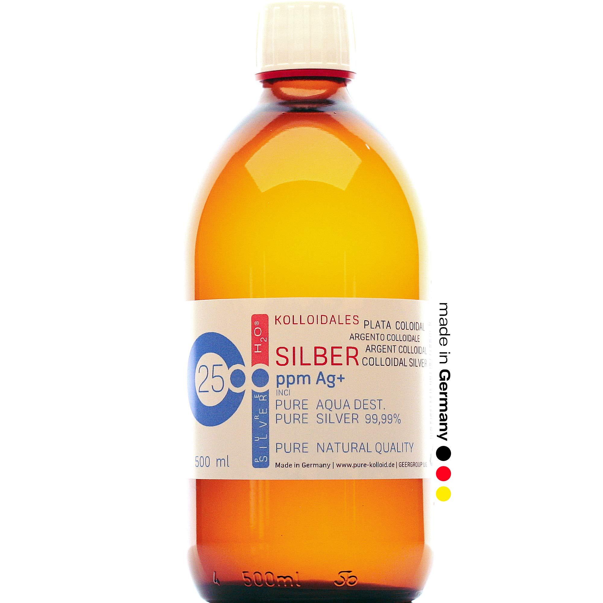500ml Plata coloidal PureSilverH2O - Botella 500ml/25ppm Plata coloidal - 99,99% de plata pura - la mejor calidad - Made in Germany: Amazon.es: Hogar