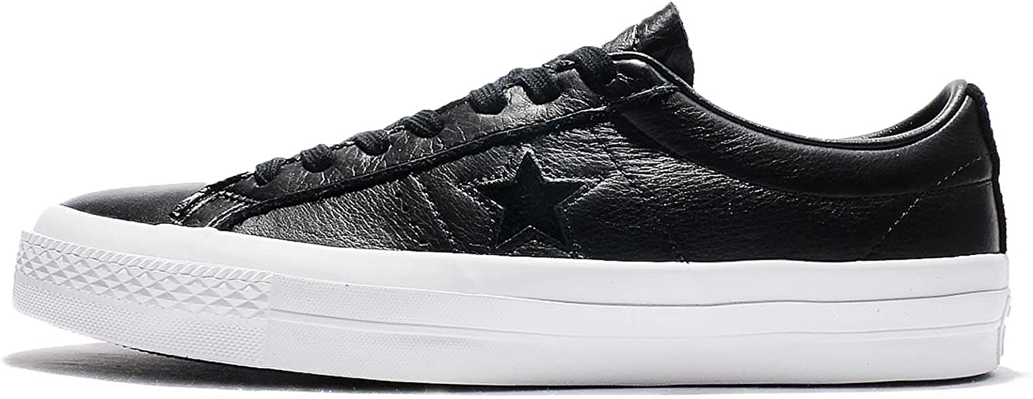 Converse Unisex Mens One Star Premium Leather Low Ox Fashion Sneaker shoes Black