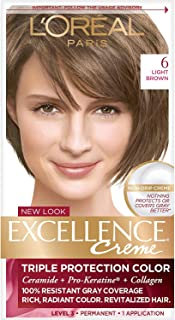 L'Oreal Paris Excellence Creme Permanent Hair Color, 6 Light Brown, 100 percent Gray Coverage Hair Dye, Pack of 1
