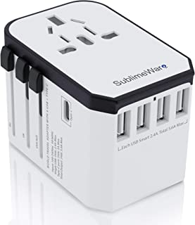 Power Plug Adapter - International Travel (w/5 USB Ports and USB Type C)- Work 150+ Countries -...