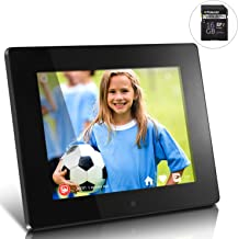 Aluratek - 8 WiFi Digital Photo Frame with Touchscreen IPS LCD Display 8GB with Polaroid 16 GB Class 10 SD Card - SDHC UHS-I, U1 Memory Flash Card