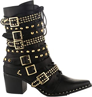a612edb61 Michelle Parker Cape Robbin Rockstud Black Gold Western Pointy Toe  Embelished Moto Leather Boot