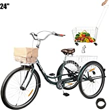 HIRAM 3-Wheeled Adult Tricycle with Removable Basket, 24