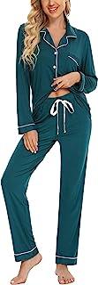 Anjue - Pijama de manga larga para mujer con botones y ropa de dormir suave