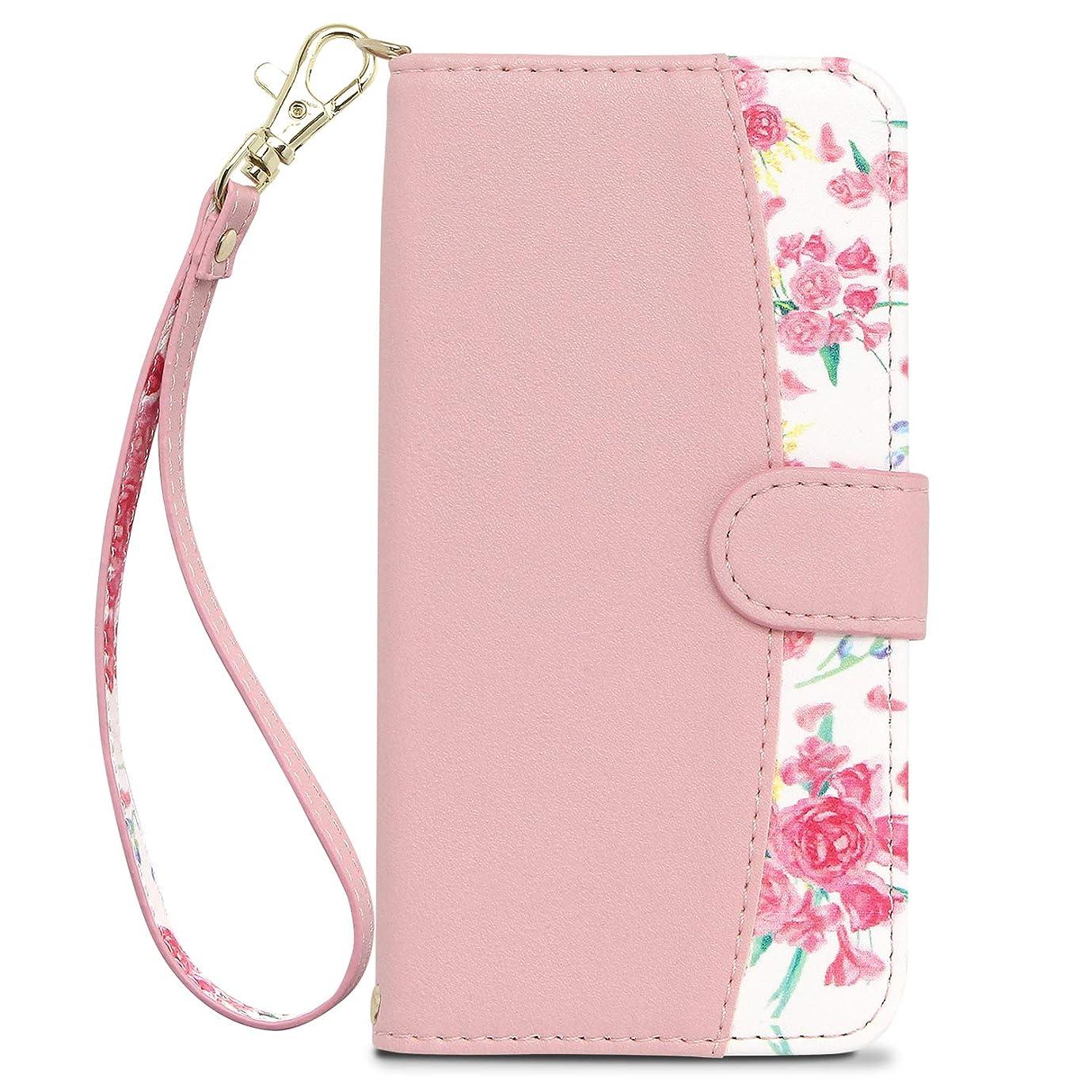 コントラスト毎回故意に[MINTY] iPhone XR ケース 手帳型 ストラップ付き 花柄 Fleucia (フルーシア) ピンク
