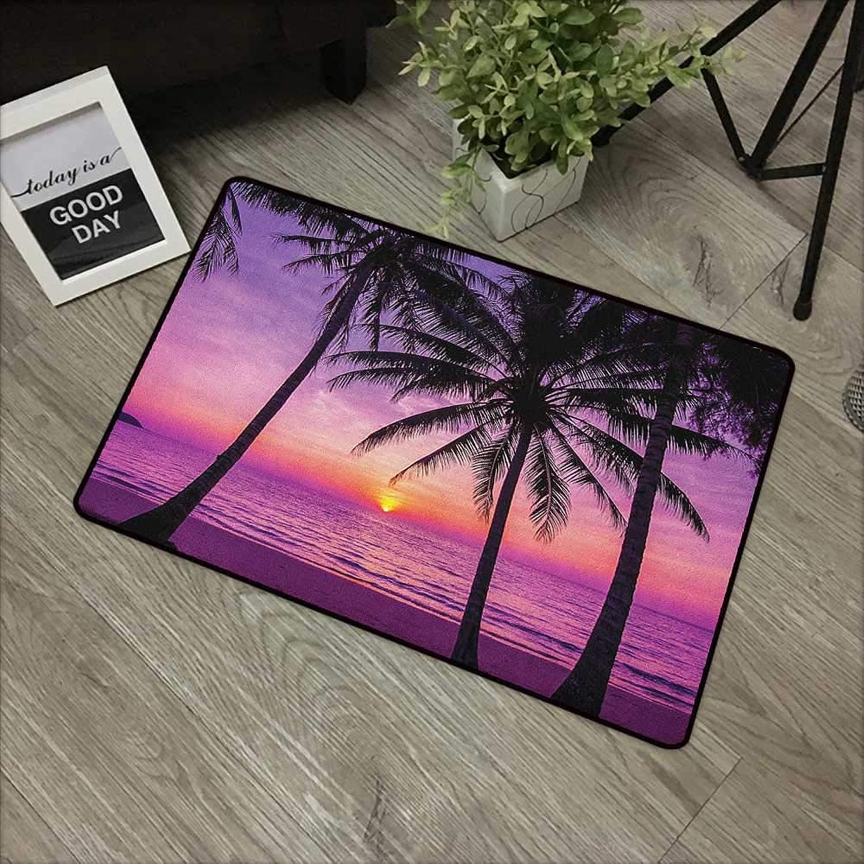 Door mat W31 x L47 INCH Ocean,Palm Trees Silhouette at Sunset Dreamy Dusk Warm Exotic Twilight Scenery Image, Purple Black Non-Slip, with Non-Slip Backing,Non-Slip Door Mat Carpet