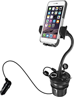 "Macally Car Cup Holder Phone Mount with Two High Powered USB Charging Ports 4.2A 21W, 2 Cigarette Lighter Sockets, & 8"" Long Neck for iPhone XS XS MAX XR X 8 8+ 7 Plus, Samsung Galaxy, etc (MCUPPOWER)"