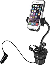"""Macally Car Cup Holder Phone Mount with 2 USB Charging Ports & 2 Cigarette Lighter Sockets - Adjustable Cup Phone Holder for Car with 8"""" Long Neck and 360° Rotatable Base - Fits Phones Up to 4.1"""" Wide"""