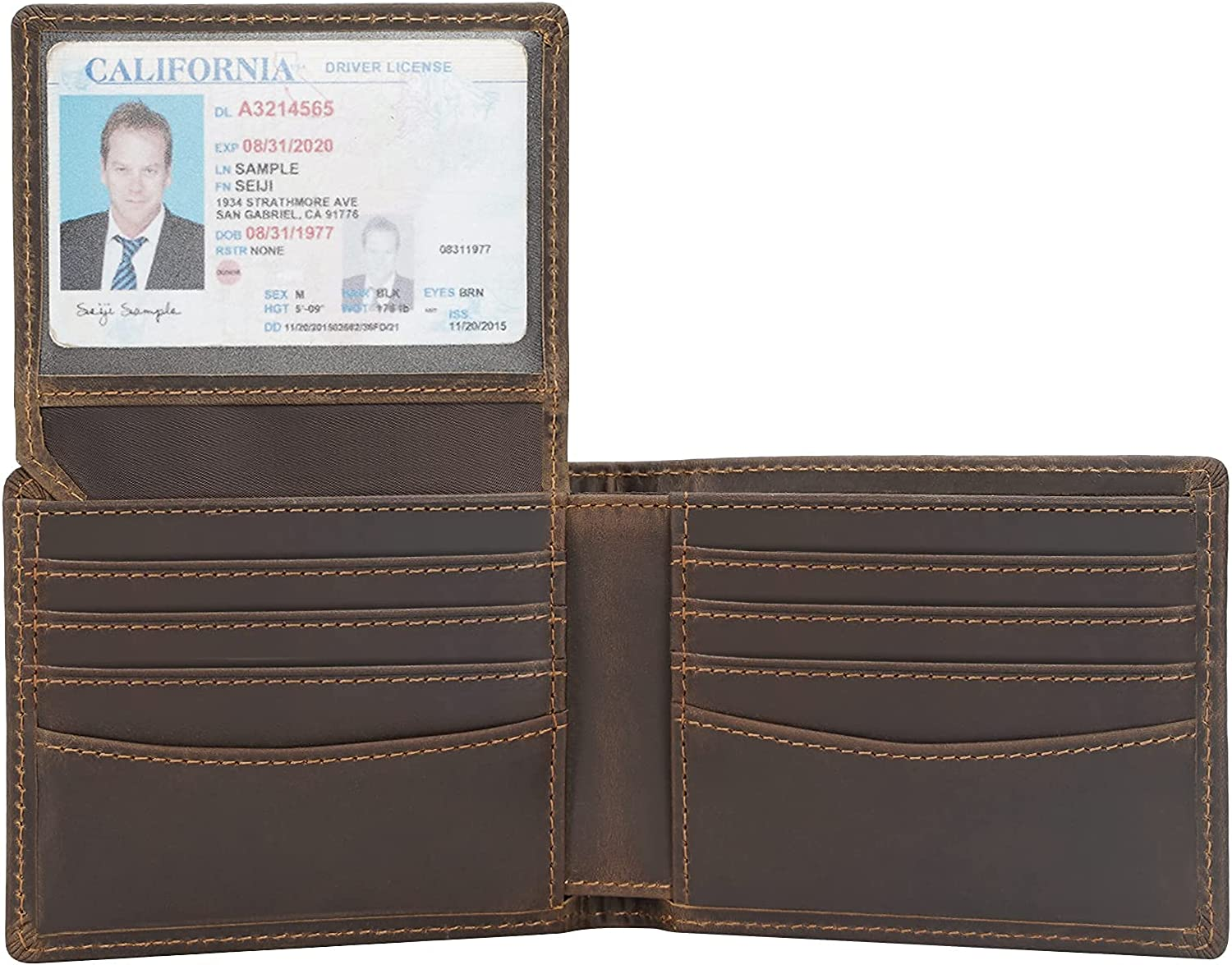 Polare RFID Blocking Napa Leather Bifold Wallet For Men with 2 ID Windows
