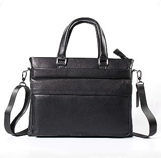 Shoulder Bags Leather Work Bag Men's Business Tote Cowhide Square Diagonal Package 5L Black Briefcase Laptop Bag