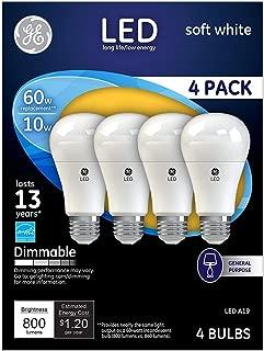 GE Lighting 67615 Dimmable LED A19 Light Bulb with Medium Base, 10-Watt, Soft White, 16-Pack