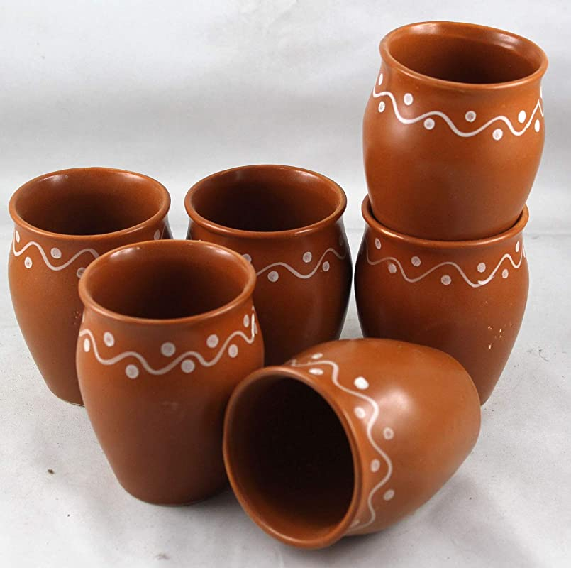 Odishabazaar Ceramic Kulhar Cups Traditional Indian Chai Tea Cup Set Of 6