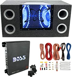 """$322 » Pyramid BNPS122 12"""" 1200W Car Audio Subwoofer with Neon Accent Lighting and 4 OHM Impedance, Sub Box,1100W Mono Amplifier, & Wiring Kit"""