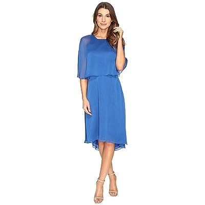 Halston Heritage Short Sleeve Round Neck Dress w/ Back Cut Out Sash (Lapis) Women