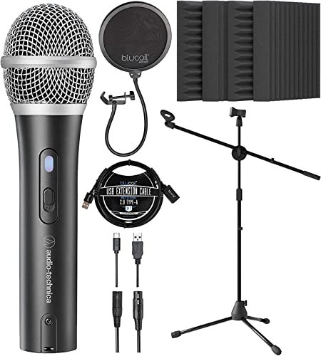 wholesale Audio-Technica ATR2100x-USB Cardioid Dynamic Microphone online (ATR Series) for Windows & Mac Bundle with Blucoil 3' USB Extension Cable, Pop Filter, Adjustable Mic popular Stand, and 4X 12 Acoustic Wedges online sale