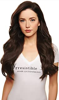 IRRESISTIBLE ME Clip in Human Hair Extensions Medium Brown (Color #4) - 100% Remy (Remi) Straight Clip ins Extension – Clips Pieces Full Head Set – Weight (Grams) and Length (Inch) (#4-14