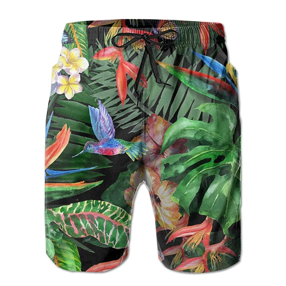 balloon heart Tropical Flowers Watercolor Exotic Leaves Men's Beach Pants Swim Trunks Quick Drying Board Short with Pockets