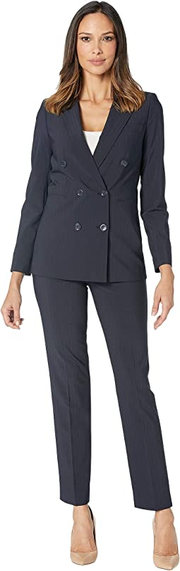 Shadow Stripe Double Breasted Pants Suit