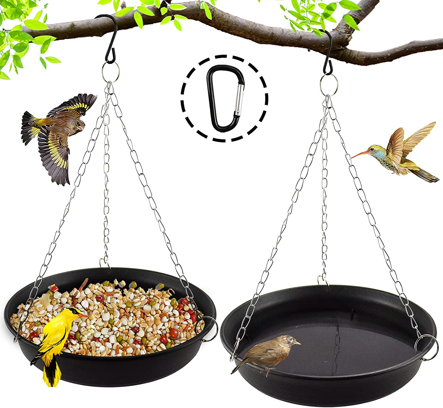 Miwasion 11 Inch Hanging New Shipping Free Shipping Sale item Bird for Bath w Outdoors Bowl