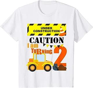 Kids 2nd Truck Themed Birthday Excavator Shirt Age 2 Yr Old Boy
