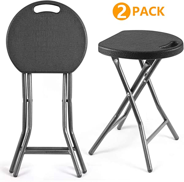5Rcom Portable Stools Folding Lightweight Set Of 2 Plastic Foldable Stool With Heavy Duty Steel Frame Legs 300lbs Capacity 18 1 Inch Height 2 Pack Black