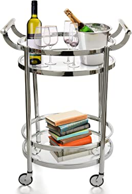 Design Guild Rolling 2 Tier Glass & Metal Round Serving Cart w Wheels-Wine Rack & Liquor Barware Storage for Kitchen, Dining Room, Home Bar, Or Buffet, Silver