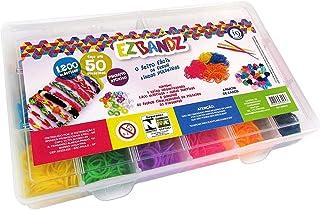 Kit Fábrica de Pulseiras com 1200 Elásticos, euquefiz Ezbandz, i9 Brinquedos