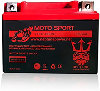 YTX4L-BS High Performance Motorcycle Scooter ATV Battery by Neptune
