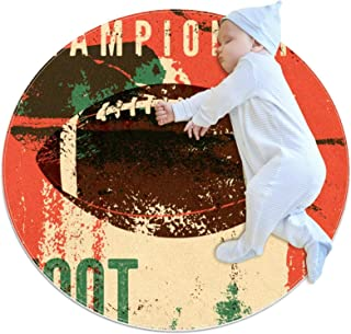 Carpettes Rondes diamètre 31,5 Pouces Rugby de Football américain Tapis Doux drôle antidérapant pour la décoration de Cham...
