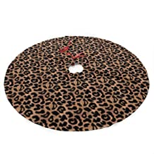 LALABULU Christmas Tree Skirt 35.5 Inches Xmas Tree Skirt Leopard Pattern Christmas Decorations Indoor Outdoor