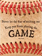 Wee Blue Coo Never Let Fear Baseball Sport Quote Typography Babe Ruth Unframed Wall Art Print Poster Home Decor Premium