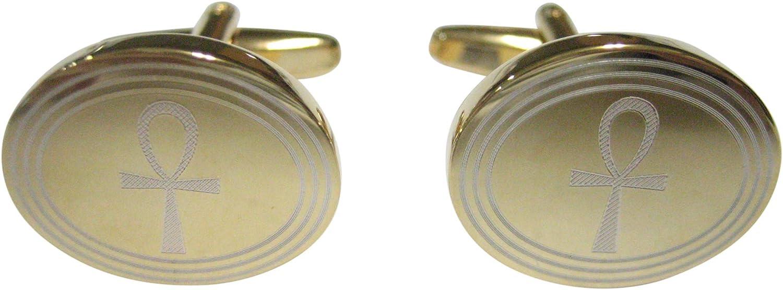 Kiola Designs Gold Toned Etched Oval Ankh Cross Cufflinks