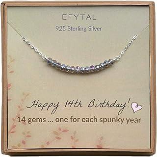 هدایای هفدهم تولد EFYTAL برای دختران ، گردنبند نقره ای استرلینگ ، 14 مهره برای دختر 14 ساله ، ایده هدیه جواهرات