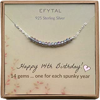EFYTAL 14th Birthday Gifts for Girls, Sterling Silver Necklace, 14 Beads for 14 Year Old Girl, Jewelry Gift Idea