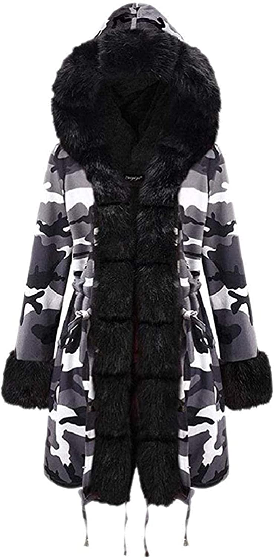 Women's Warm Parka Coats Faux Fur Line Hoodie Camouflage Printed Overcoats