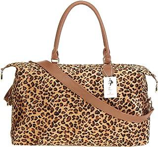Monogrammed Weekender Travel Bags Hand Shoulder Bags for Women, Leopard with Strap (Yellow) - Leopard Weekender Bag
