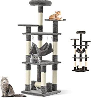 Ufurniture 132cm Cat Tree Scratching Post Condo Furniture, Multi-Level Cat Tower with Hammock and Sisal-Covered, Indoor Ki...