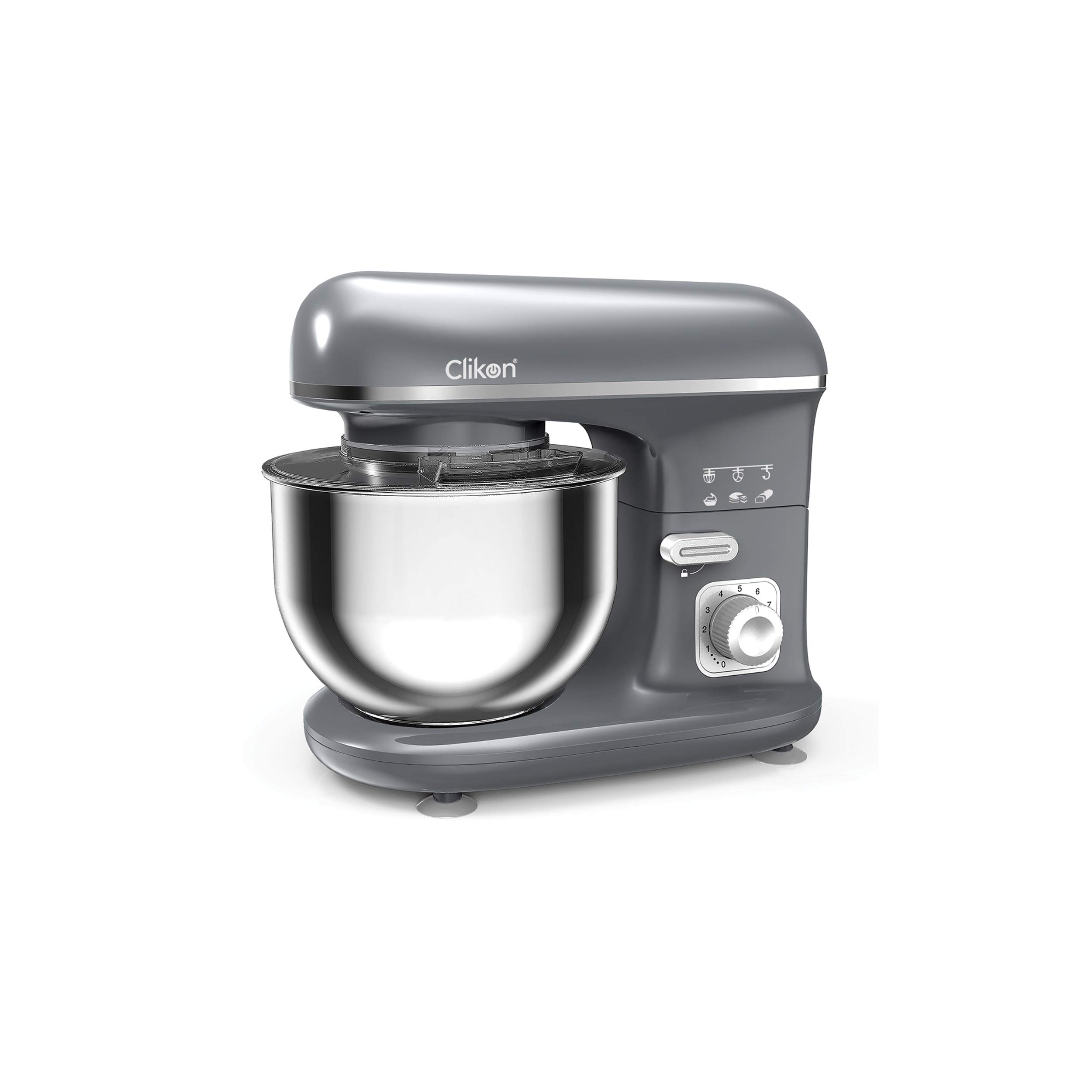 CLIKON – STAND MIXER WITH DOUGH HOOK, WIRE WHISK & FLAT BEATER ATTACHMENTS, 10 SPEED SETTINGS, LOCKABLE STAINLESS STEEL BOWL, TILT BACK DESIGN, SUCTION FEET GRIPS, 600 WATTS – CK2615 (Grey)