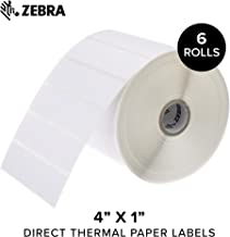 Zebra - 4 x 1 in Direct Thermal Paper Labels, Z-Perform 2000D Permanent Adhesive Shipping Labels, Zebra Desktop Printer Compatible, 1 in Core - 6 Rolls