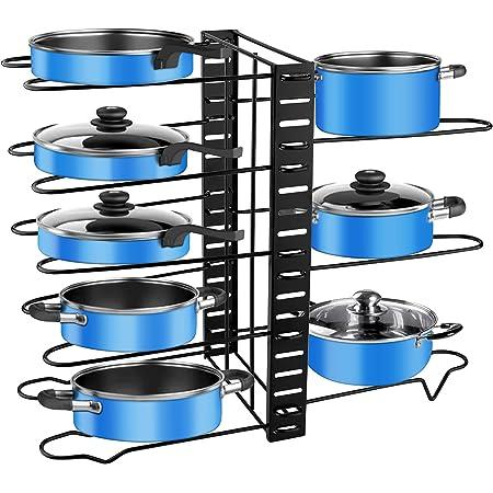 Porte-casseroles, 3 DIY Méthodes Porte-casseroles Support en Acier Inoxydable Rangement Cuisine avec 8 Compartiments Réglables Parfaite pour Les Ustensiles Poêles, Casseroles, Couvercles